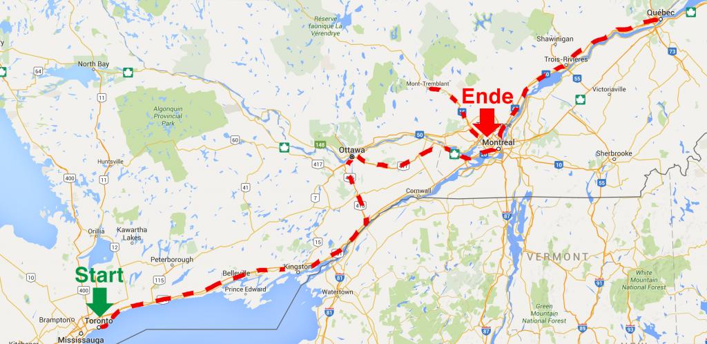 Unsere Strecke von Toronto nach Montréal